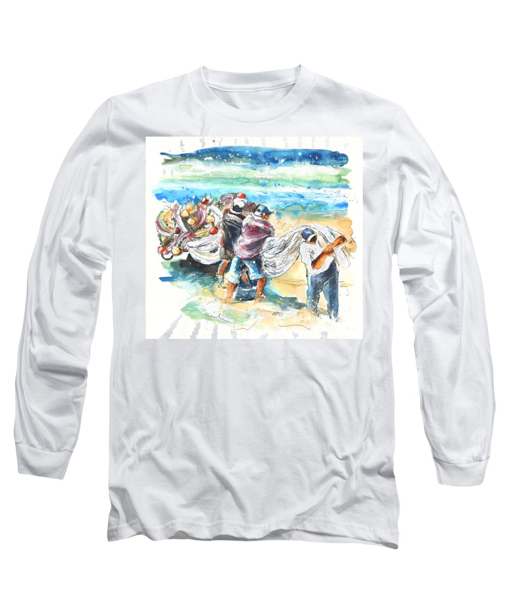 Portugal Long Sleeve T-Shirt featuring the painting Fishermen In Praia De Mira by Miki De Goodaboom