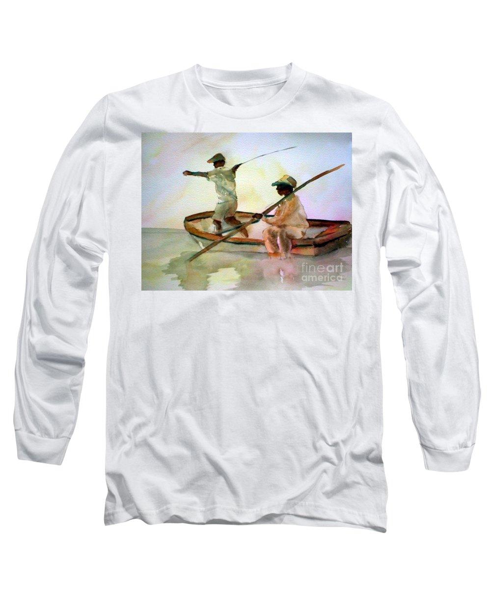 Fishing Long Sleeve T-Shirt featuring the painting Fishing by Rhonda Hancock