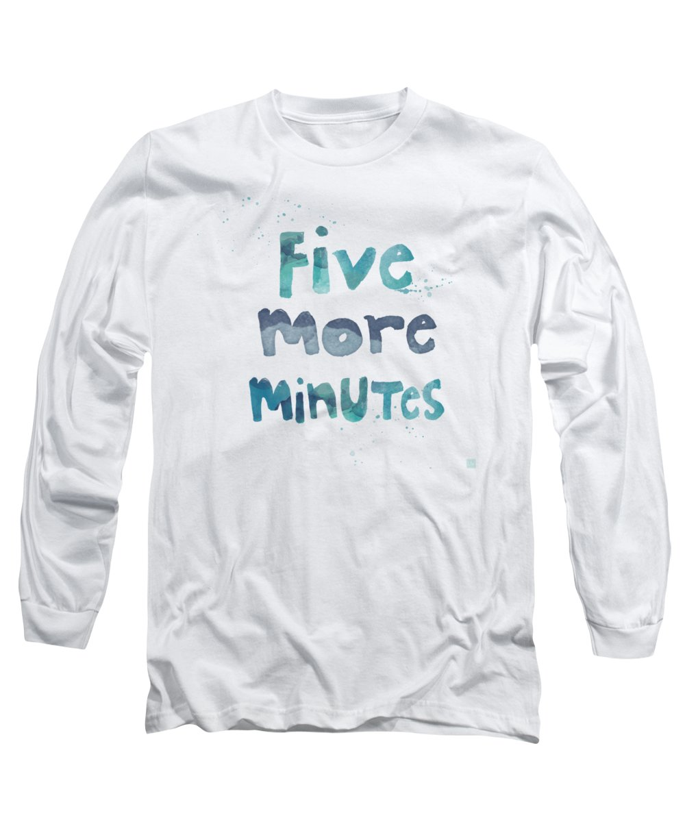 Sleep Long Sleeve T-Shirt featuring the painting Five More Minutes by Linda Woods