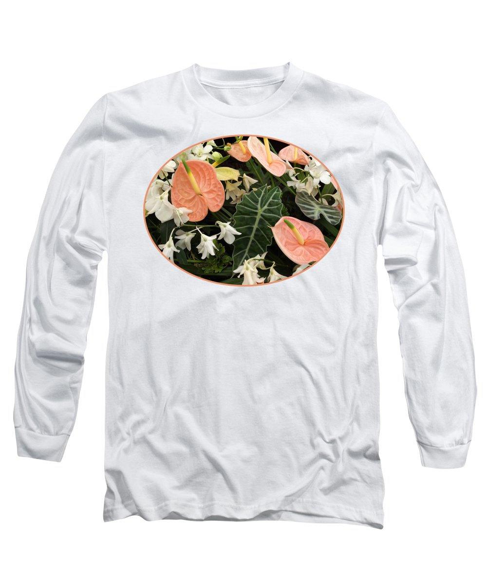 Pink Flower Long Sleeve T-Shirt featuring the photograph Flamingo Flowers And Orchids by Gill Billington
