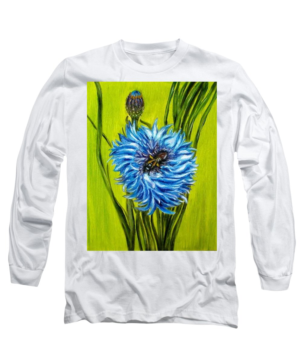 Flower Long Sleeve T-Shirt featuring the painting Flower And Bee Oil Painting by Natalja Picugina