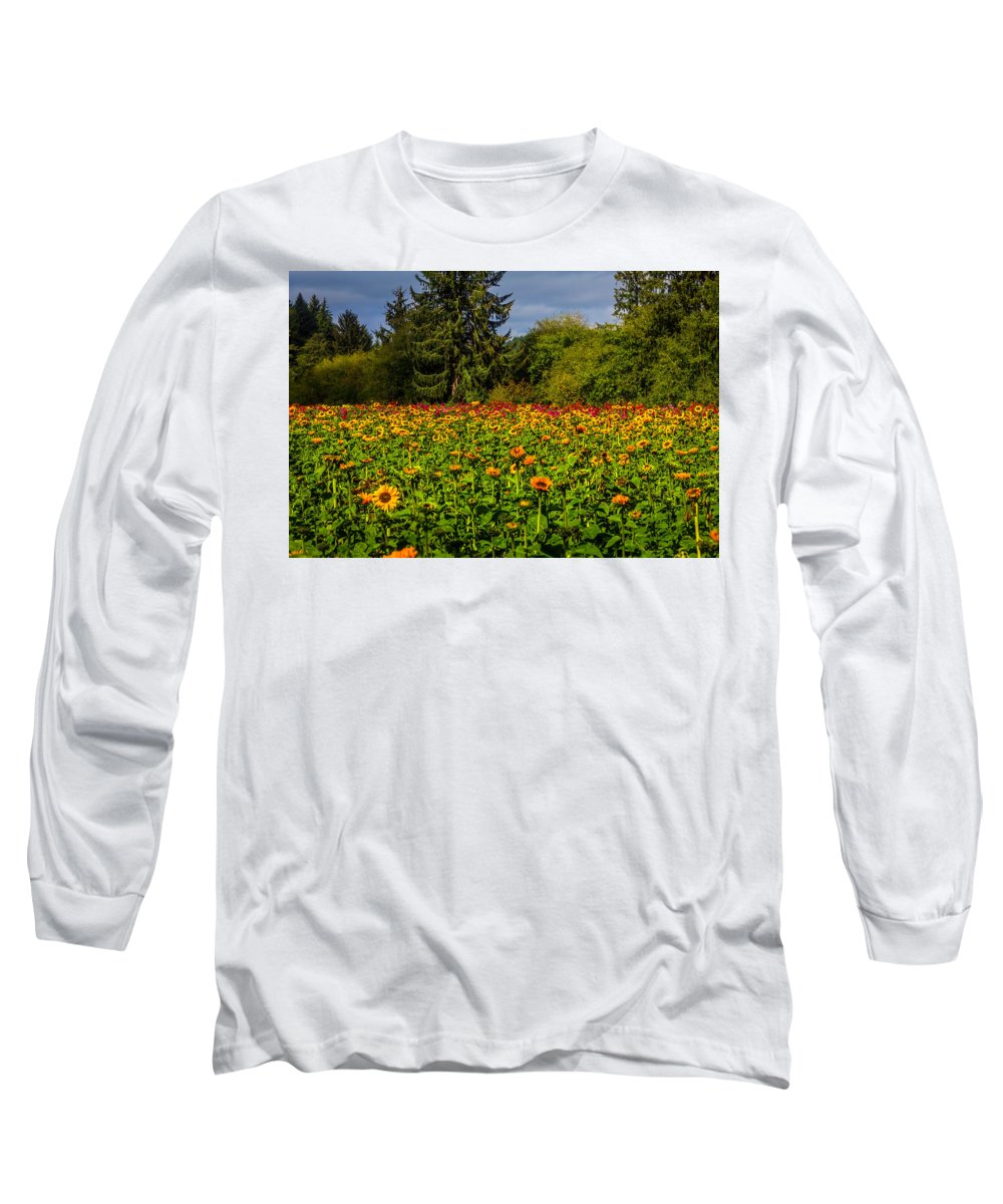 Dahlia Long Sleeve T-Shirt featuring the photograph Flower Farm by Garry Gay