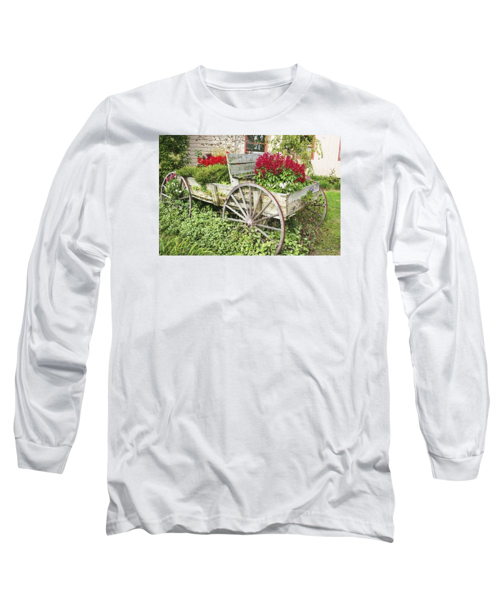 Wagon Long Sleeve T-Shirt featuring the photograph Flower Wagon by Margie Wildblood