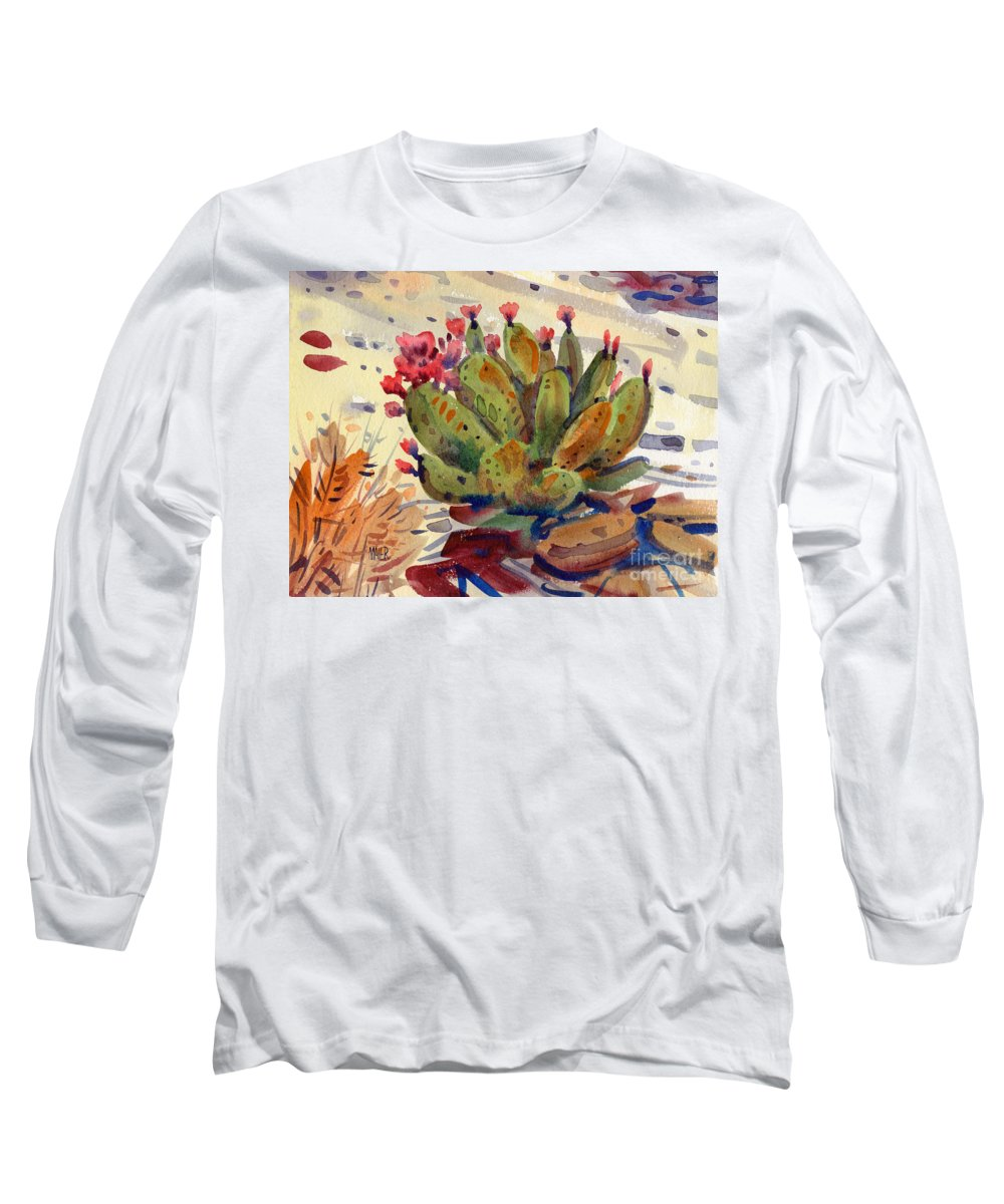 Opuntia Cactus Long Sleeve T-Shirt featuring the painting Flowering Opuntia by Donald Maier