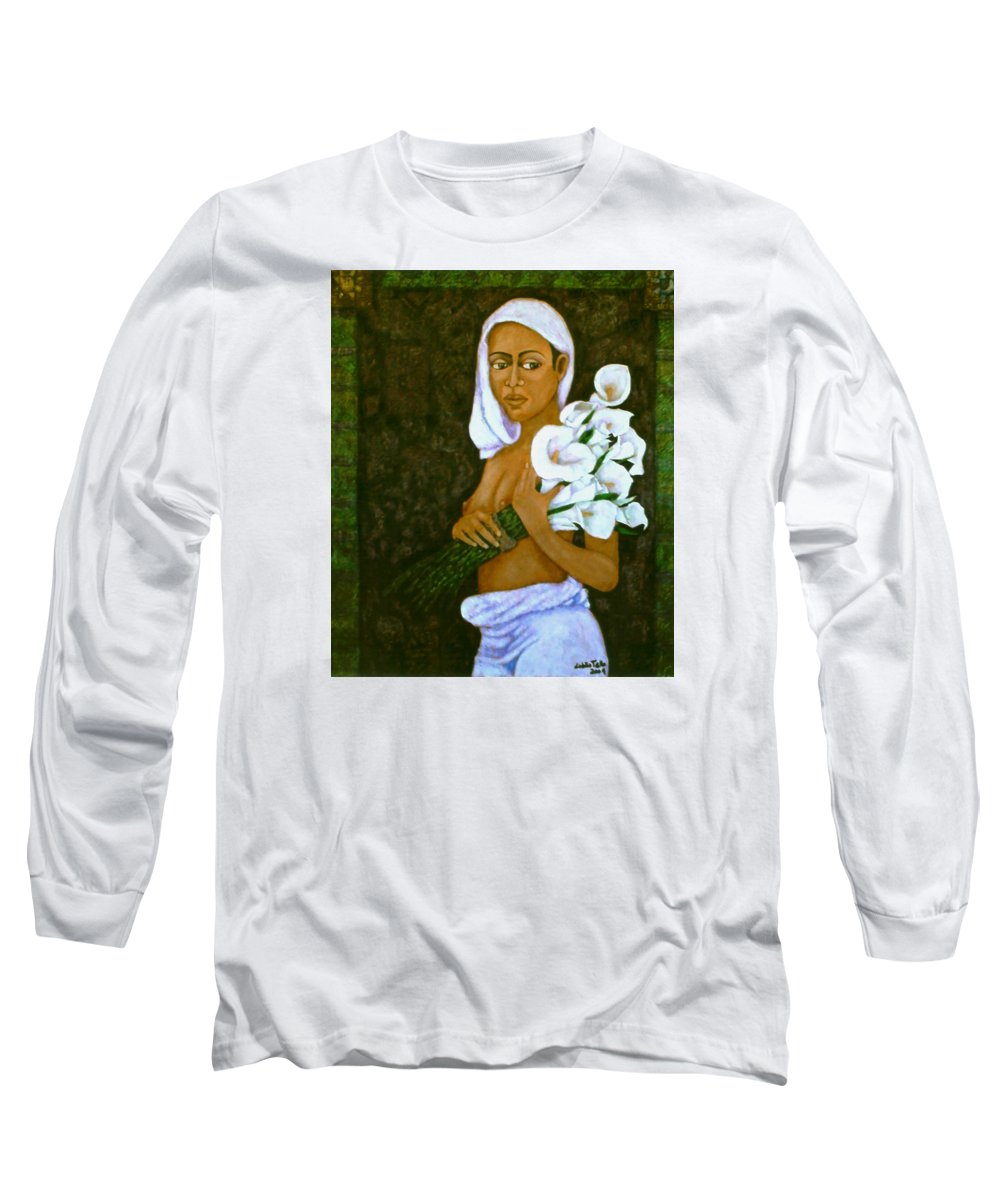 Love Long Sleeve T-Shirt featuring the painting Flowers For An Old Love by Madalena Lobao-Tello