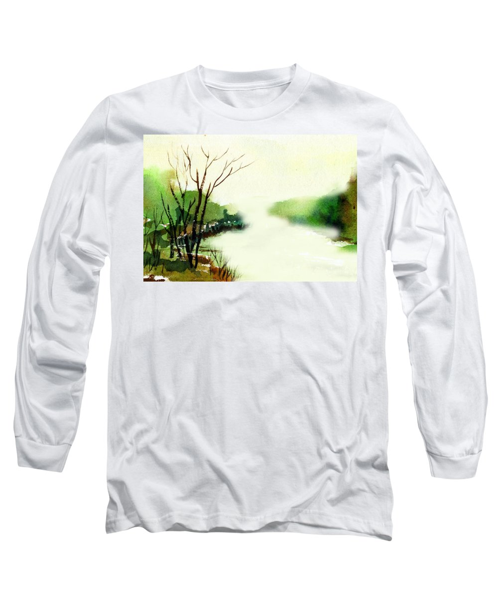 Water Color Long Sleeve T-Shirt featuring the painting Fog1 by Anil Nene