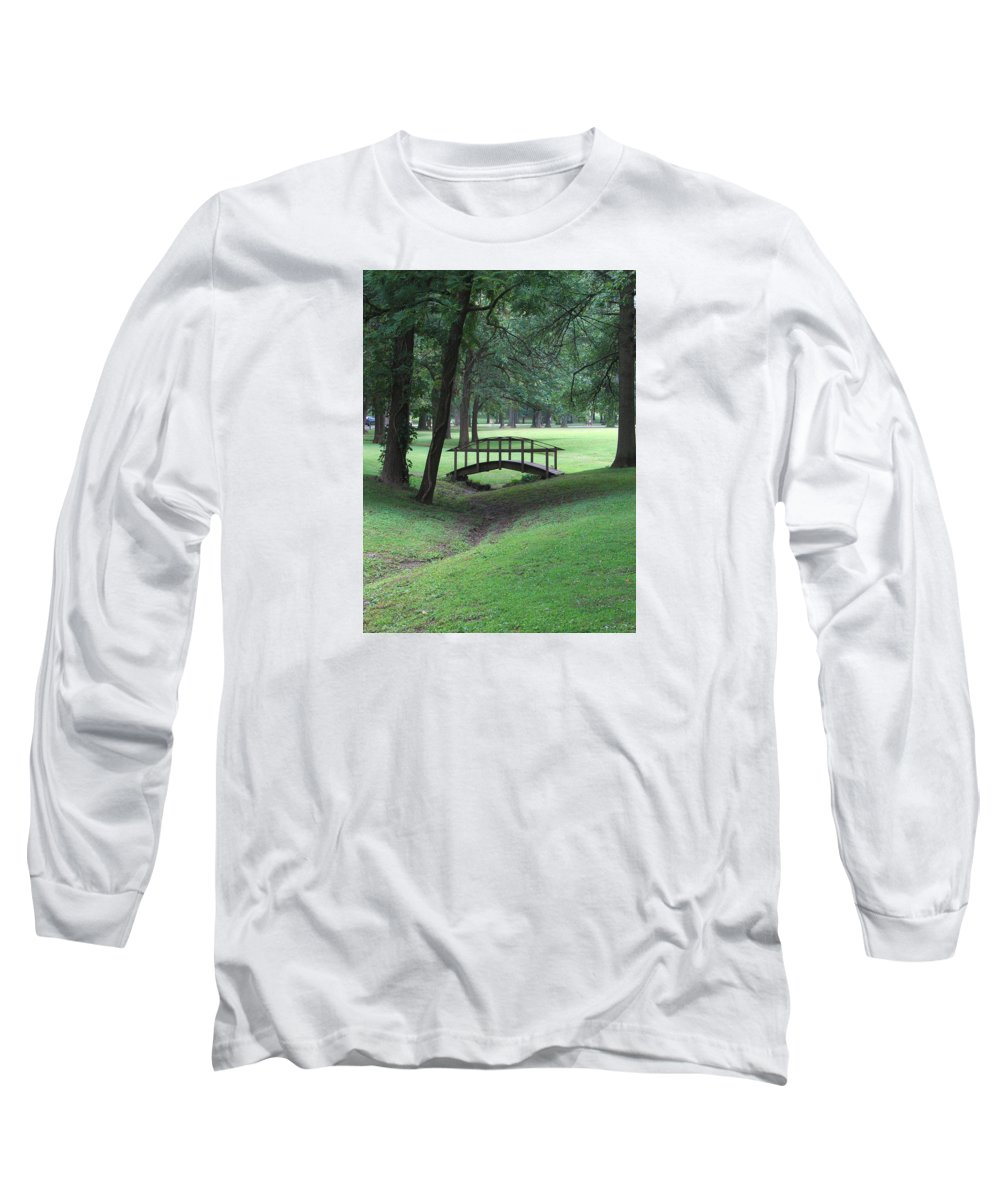 Bridge Long Sleeve T-Shirt featuring the photograph Foot Bridge In The Park by J R Seymour
