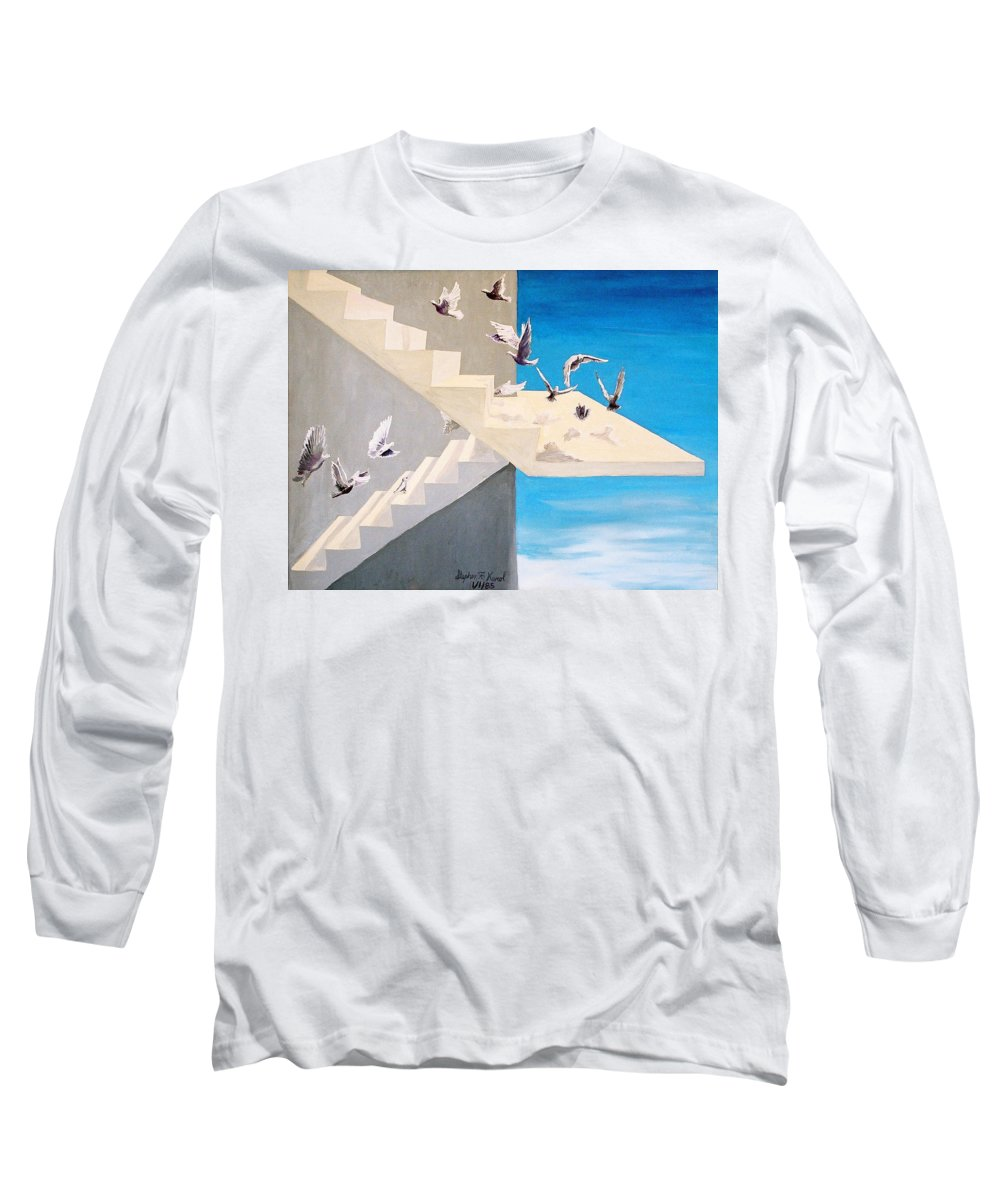 Birds Long Sleeve T-Shirt featuring the painting Form Without Function by Steve Karol