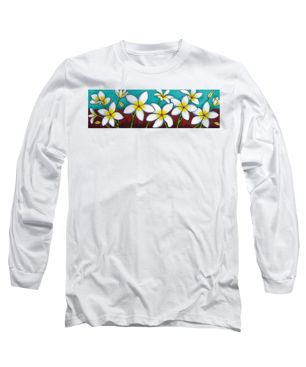 Frangipani Long Sleeve T-Shirt featuring the painting Frangipani Delight by Lisa Lorenz