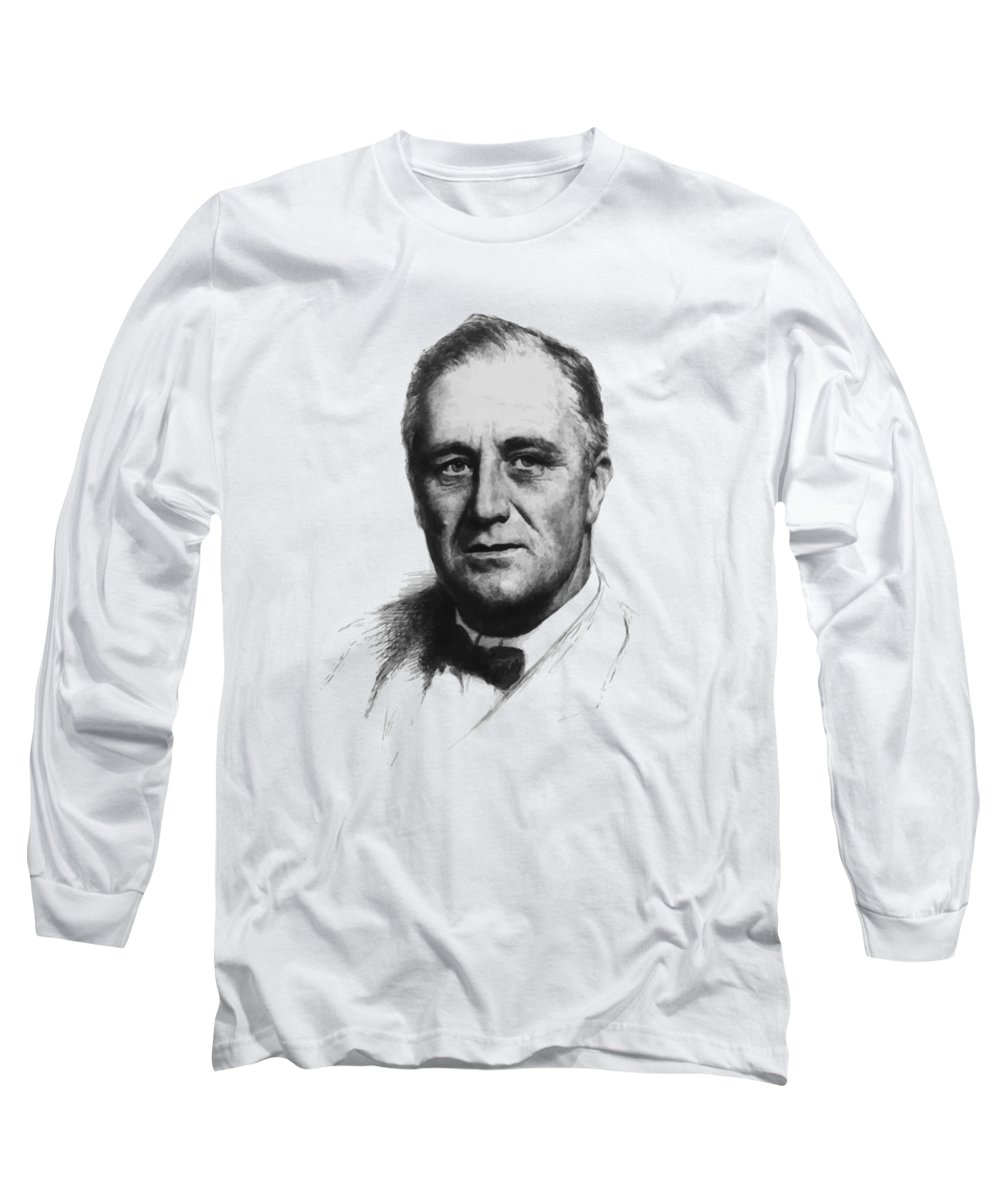 Franklin Roosevelt Long Sleeve T-Shirt featuring the painting Franklin Roosevelt by War Is Hell Store
