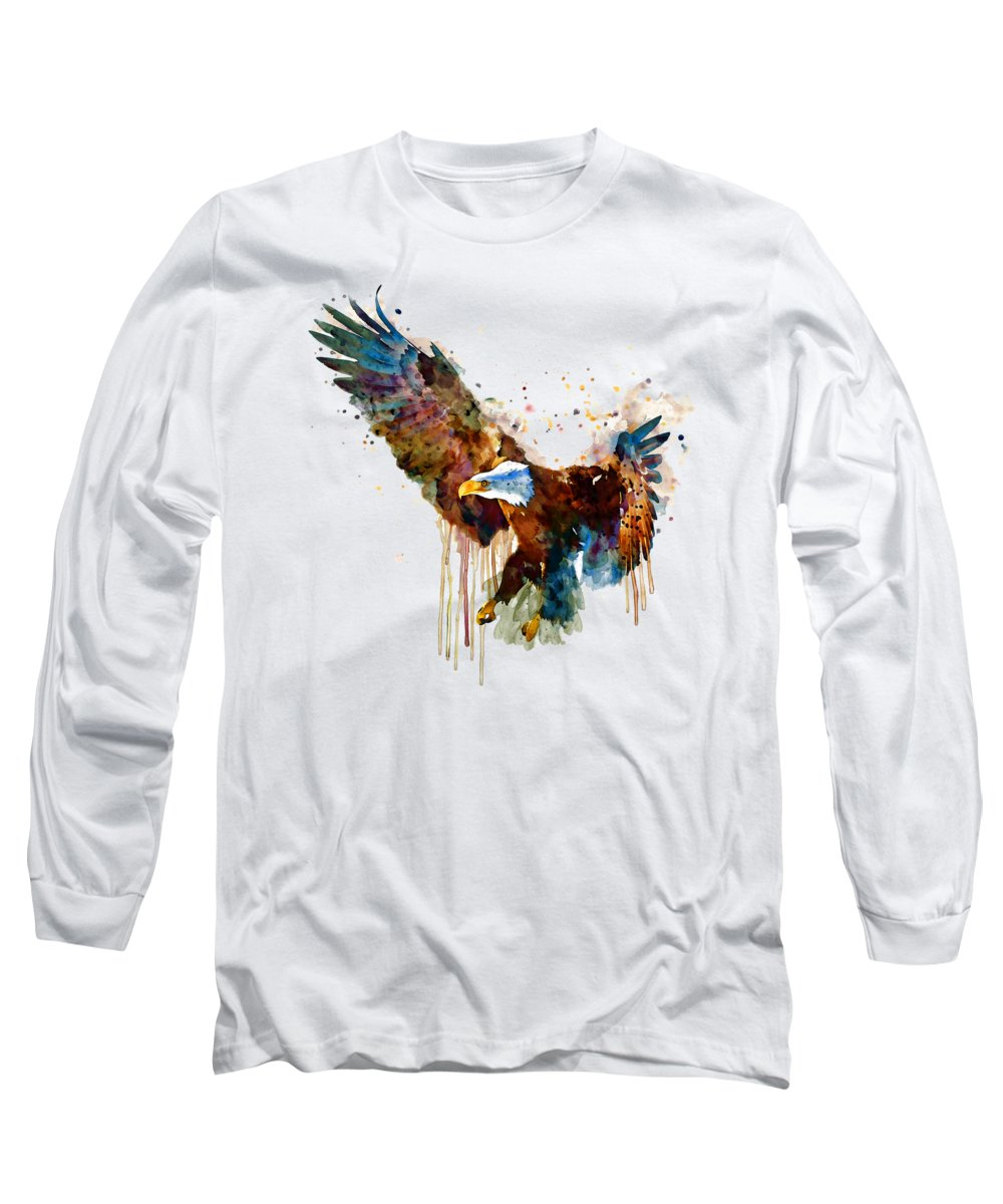 Bird Long Sleeve T-Shirt featuring the painting Free And Deadly Eagle by Marian Voicu