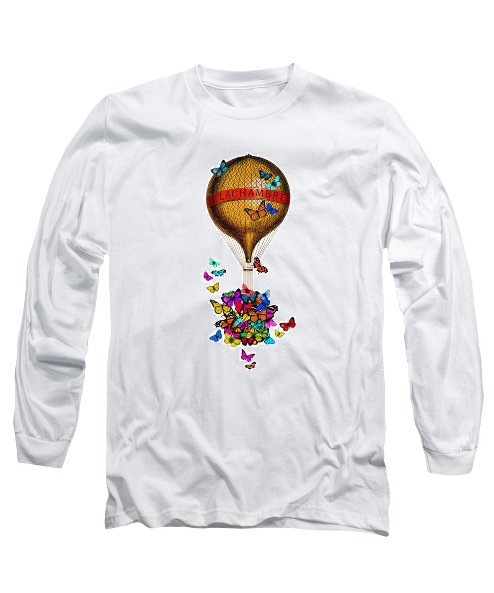 French Long Sleeve T-Shirt featuring the digital art French Hot Air Balloon With Rainbow Butterflies Basket by Madame Memento