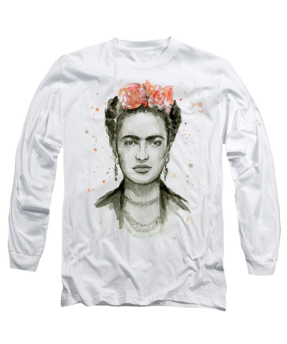 Frida Kahlo Long Sleeve T-Shirt featuring the painting Frida Kahlo Portrait by Olga Shvartsur