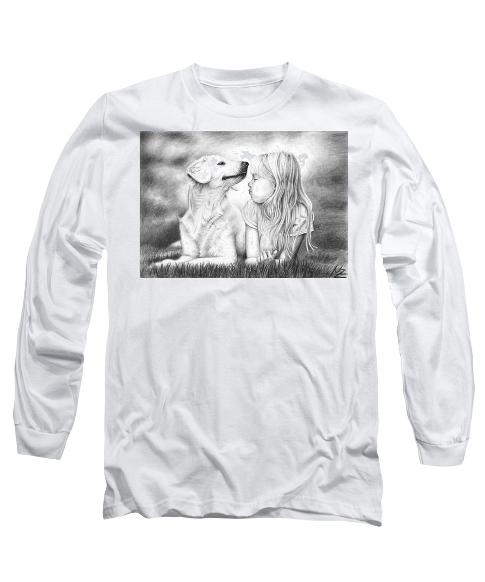 Dog Long Sleeve T-Shirt featuring the drawing Friends by Nicole Zeug