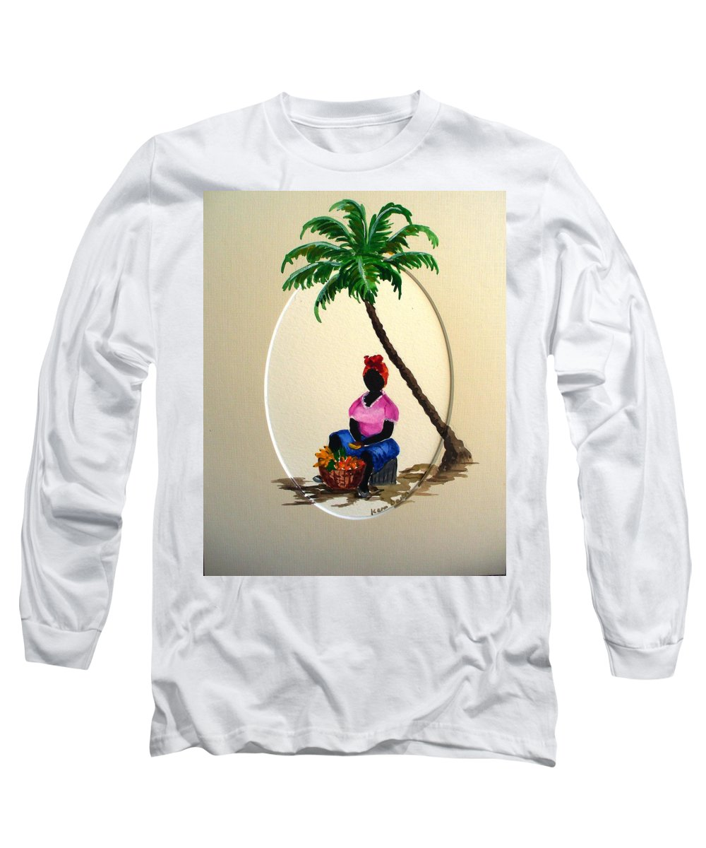 Long Sleeve T-Shirt featuring the painting Fruit Seller by Karin Dawn Kelshall- Best