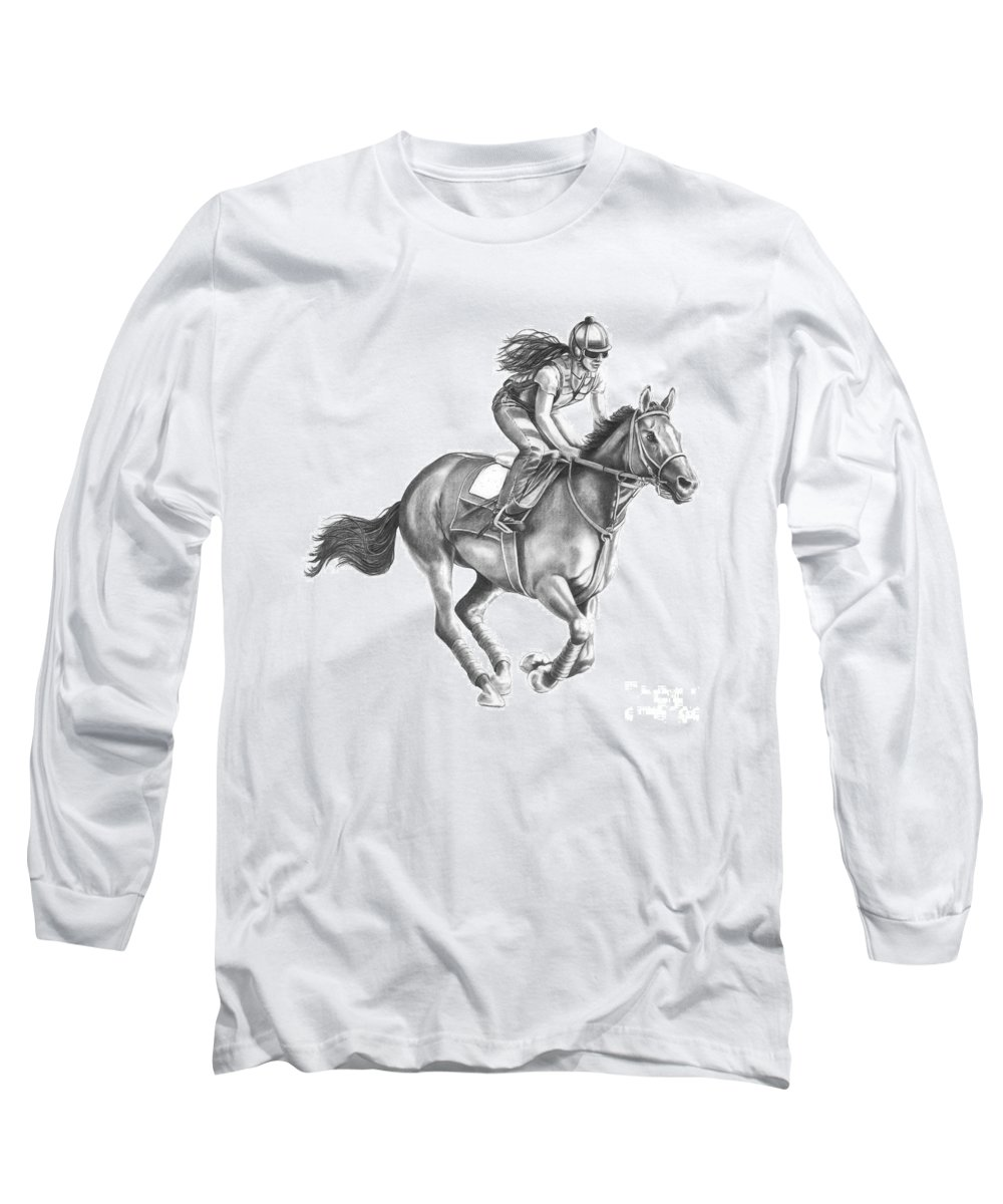 Horse Long Sleeve T-Shirt featuring the drawing Full Gallop by Murphy Elliott