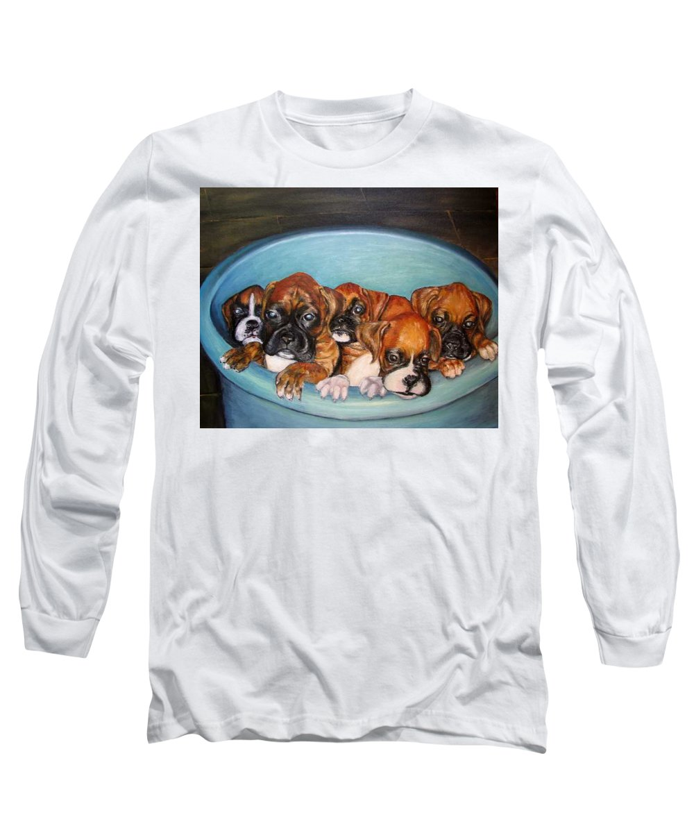 Oil Long Sleeve T-Shirt featuring the painting Funny Puppies Orginal Oil Painting by Natalja Picugina
