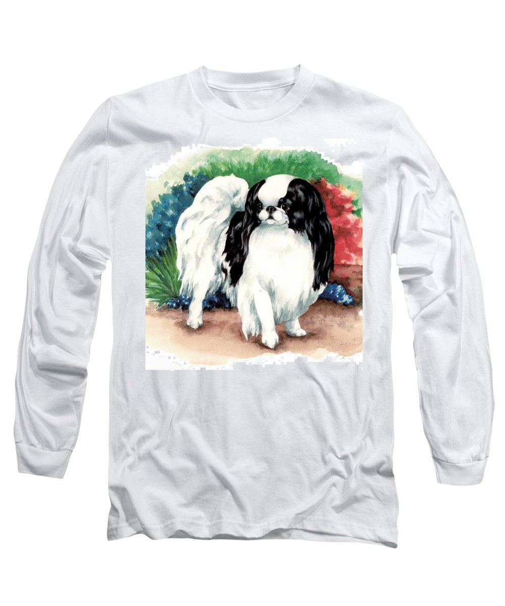 Japanese Chin Long Sleeve T-Shirt featuring the painting Garden Chin by Kathleen Sepulveda