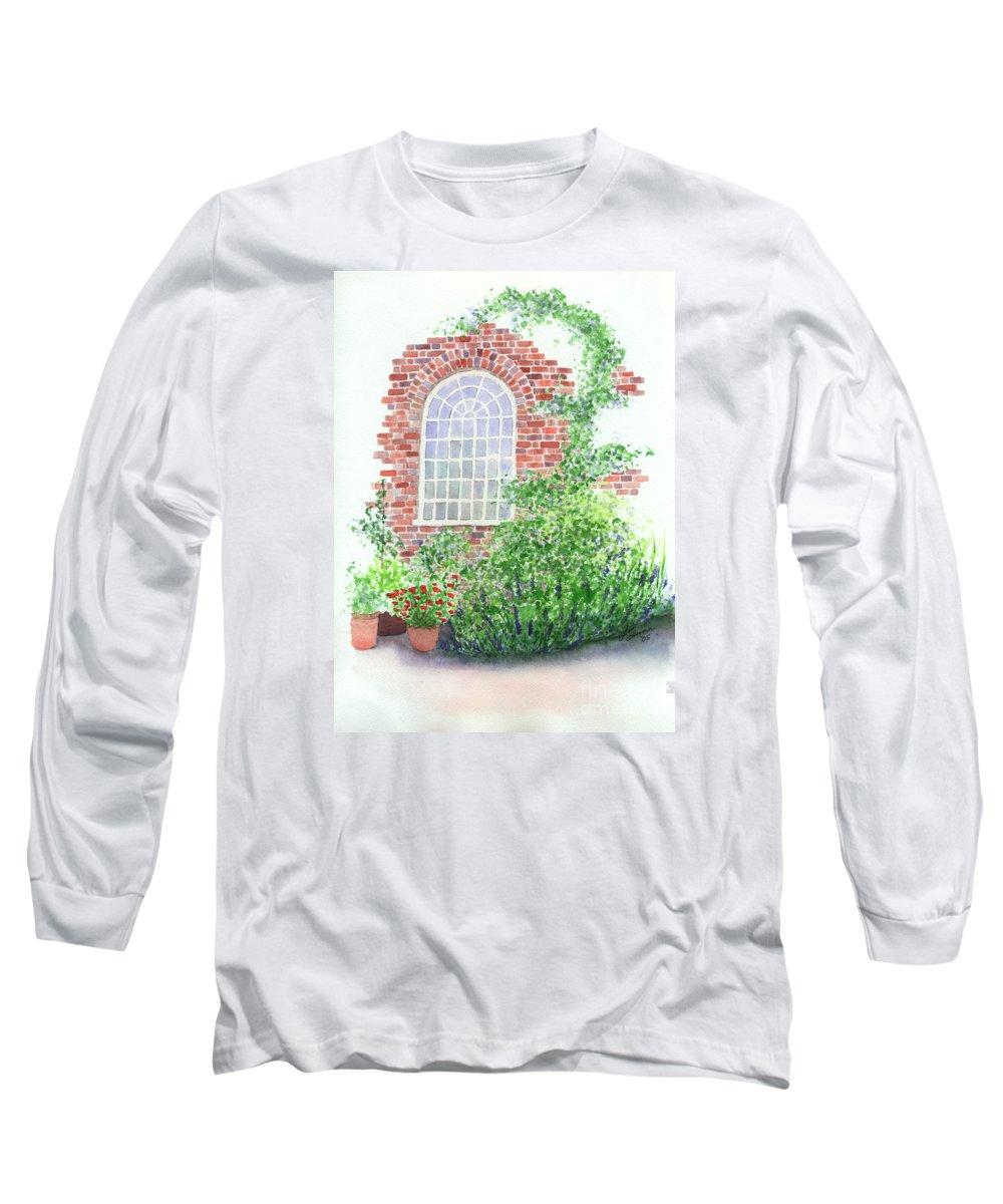 Window Long Sleeve T-Shirt featuring the painting Garden Wall by Lynn Quinn