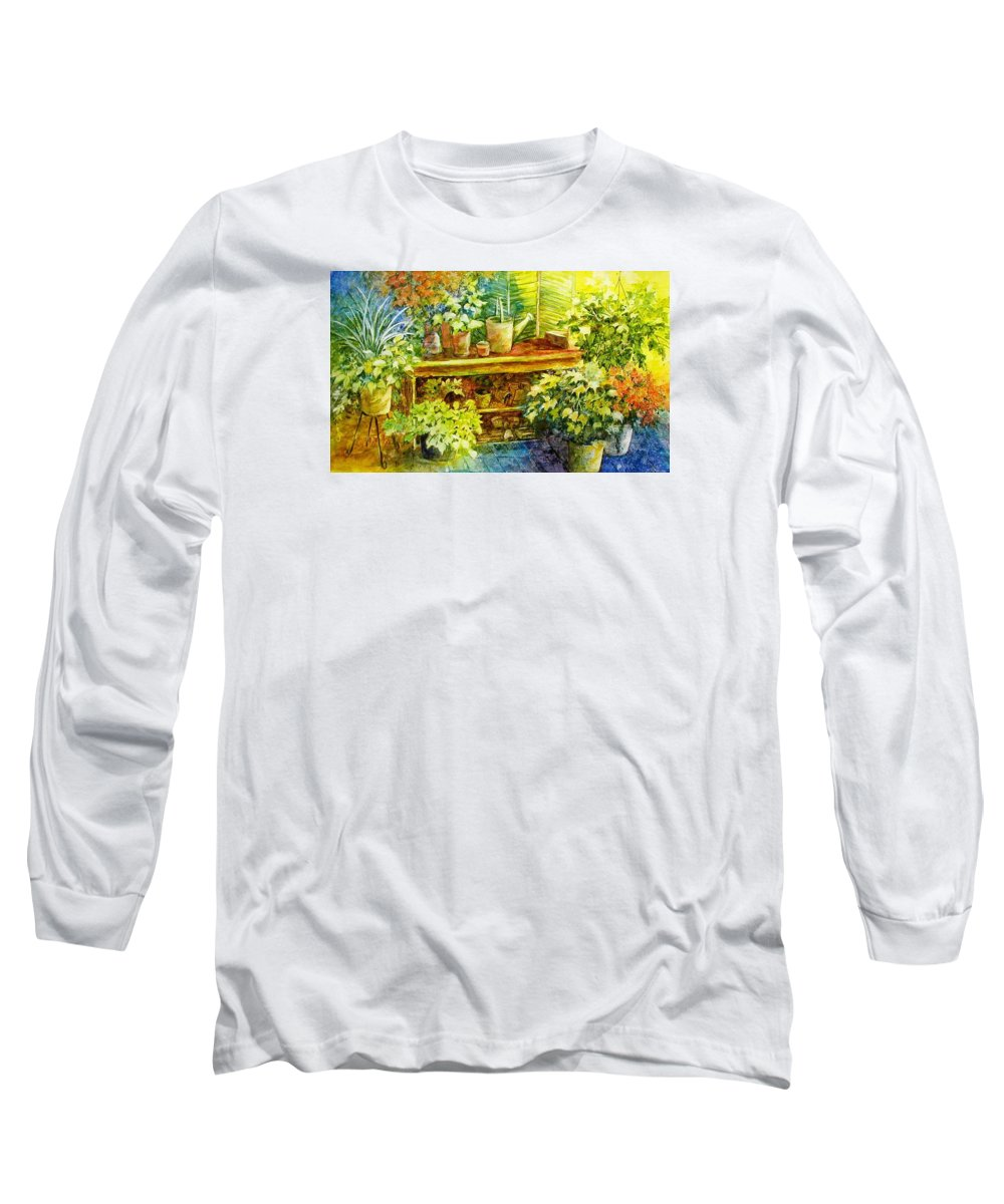 Greenhouse;plants;flowers;gardener;workbench;sprinkling Can;contemporary Long Sleeve T-Shirt featuring the painting Gardener's Joy by Lois Mountz