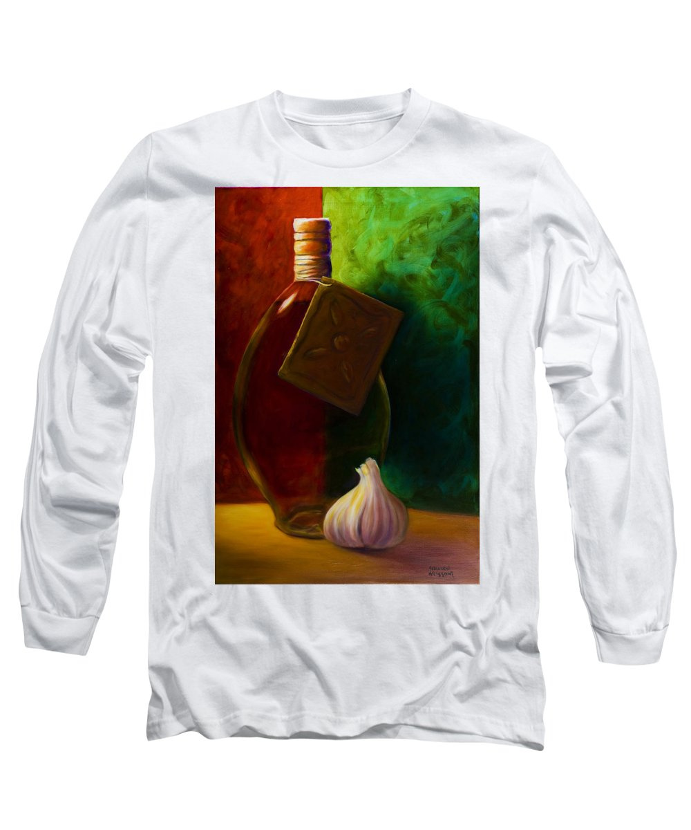 Shannon Grissom Long Sleeve T-Shirt featuring the painting Garlic And Oil by Shannon Grissom
