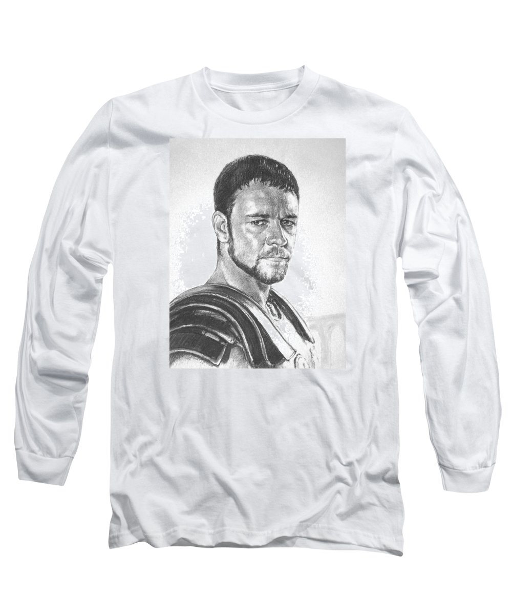 Portraits Long Sleeve T-Shirt featuring the drawing Gladiator by Iliyan Bozhanov