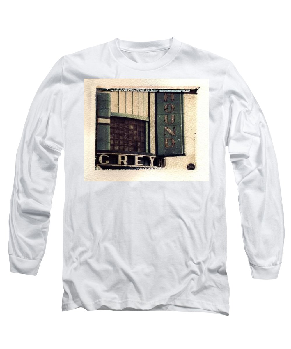 Polaroid Transfer Long Sleeve T-Shirt featuring the photograph Go Greyhound And Leave The Driving To Us by Jane Linders