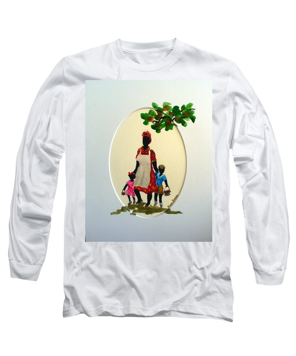 Caribbean Children Long Sleeve T-Shirt featuring the painting Going To School by Karin Dawn Kelshall- Best