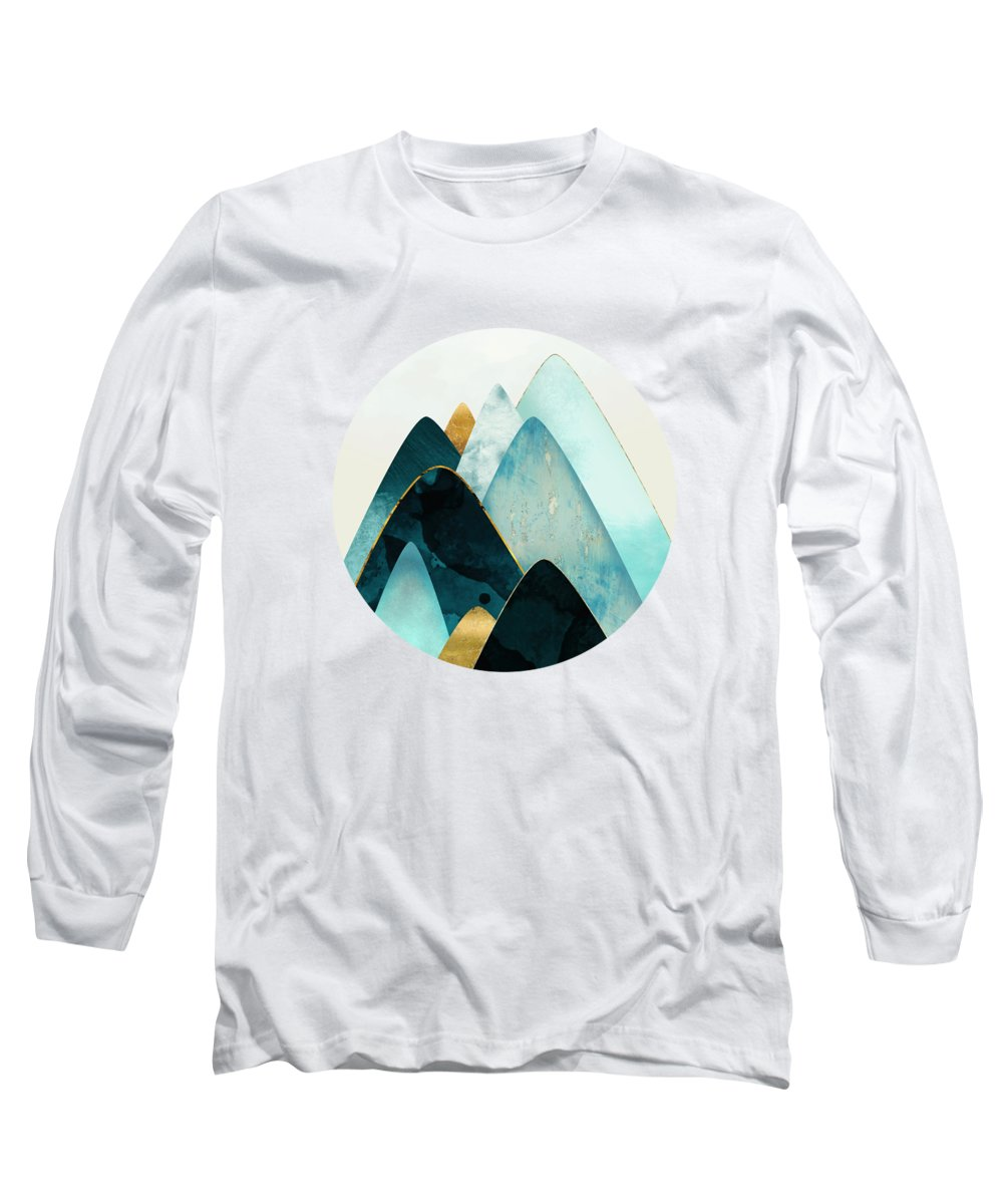 Gold Long Sleeve T-Shirt featuring the digital art Gold And Blue Hills by Spacefrog Designs