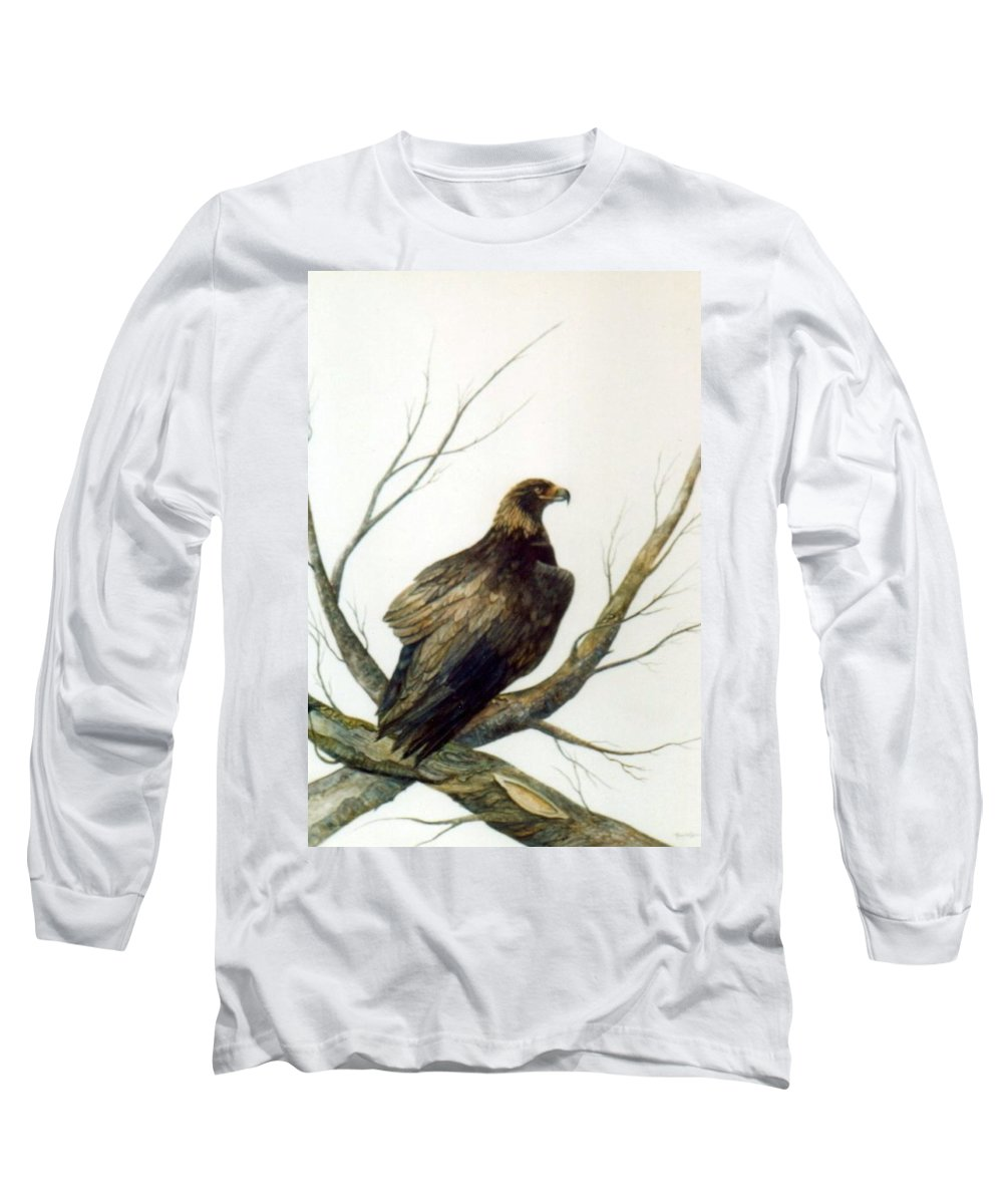 Eagle Long Sleeve T-Shirt featuring the painting Golden Eagle by Ben Kiger