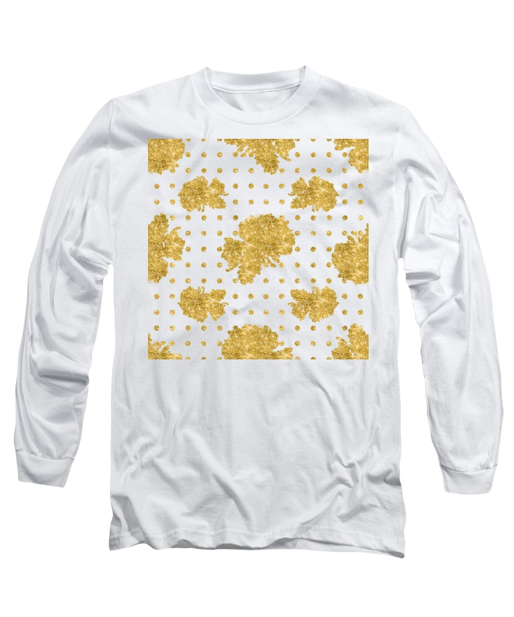 Gold Long Sleeve T-Shirt featuring the painting Golden Gold Blush Pink Floral Rose Cluster W Dot Bedding Home Decor by Audrey Jeanne Roberts