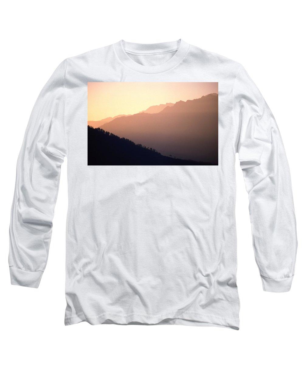 Langtang Long Sleeve T-Shirt featuring the photograph Golden Mountains by Patrick Klauss