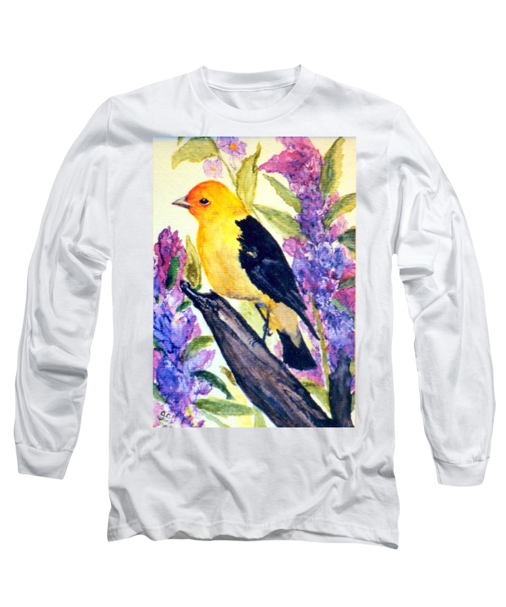 Birds Long Sleeve T-Shirt featuring the painting Goldfinch by Gail Kirtz