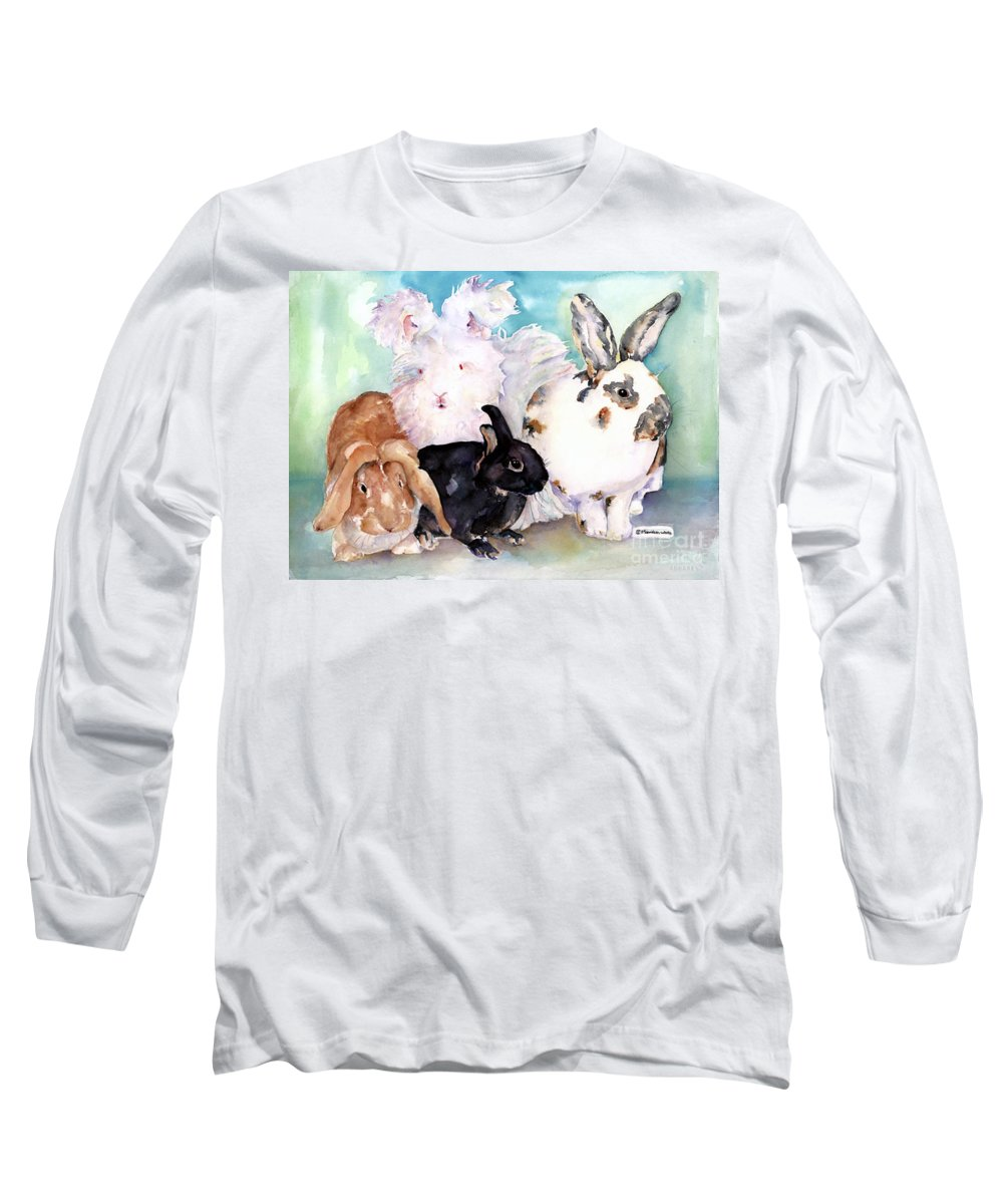 Animal Artwork Long Sleeve T-Shirt featuring the painting Good Hare Day by Pat Saunders-White