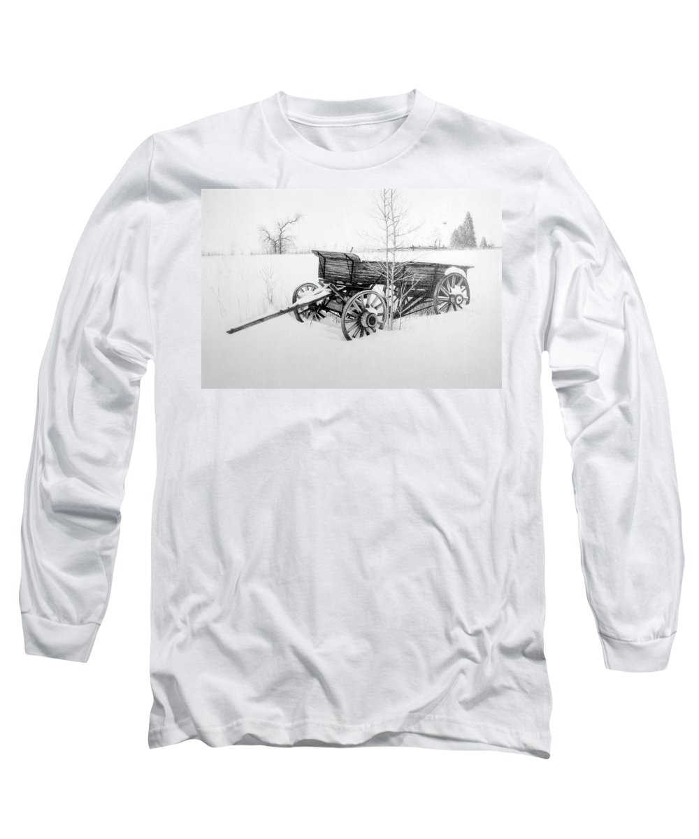 Landscape Long Sleeve T-Shirt featuring the drawing Grandpa's Old Wagon by Conrad Mieschke