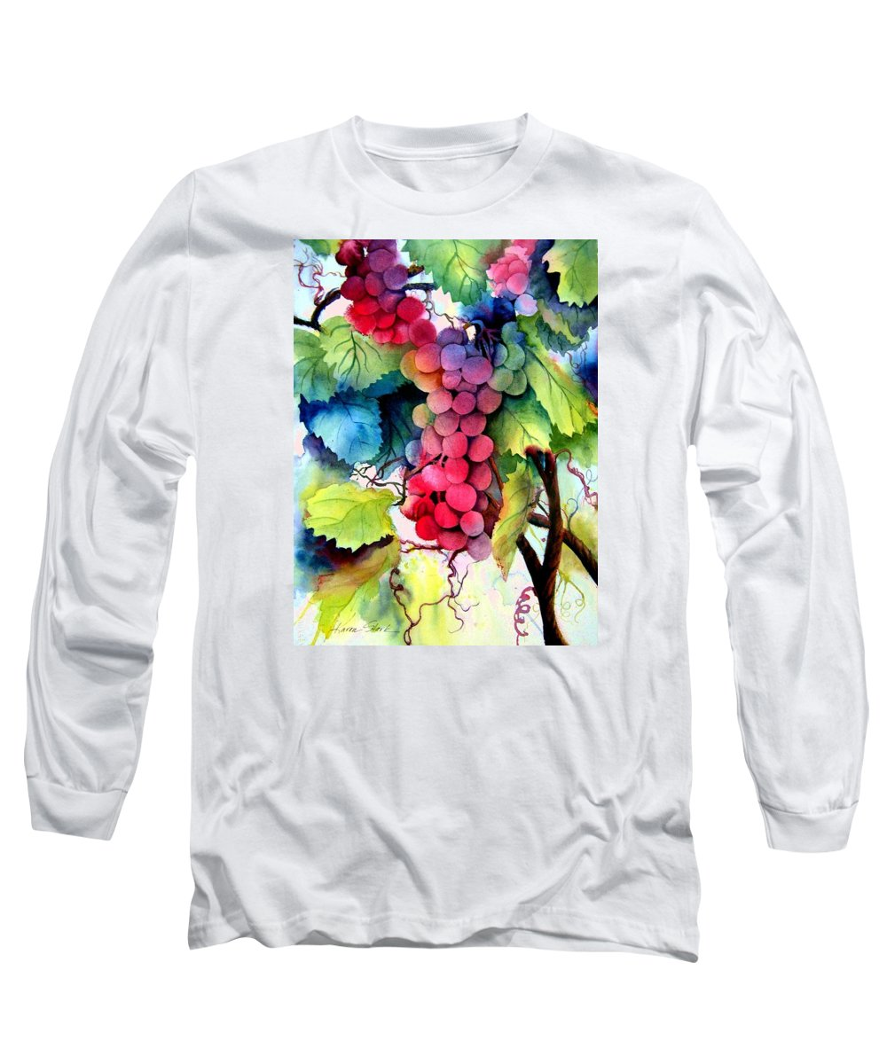 Grapes Long Sleeve T-Shirt featuring the painting Grapes by Karen Stark