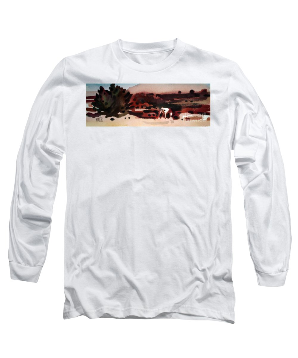 Horse Long Sleeve T-Shirt featuring the painting Grazing Pinto by Donald Maier