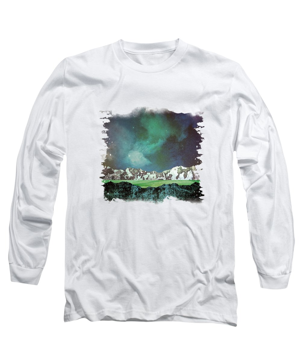 Abstract Long Sleeve T-Shirt featuring the digital art Green Space by Katherine Smit