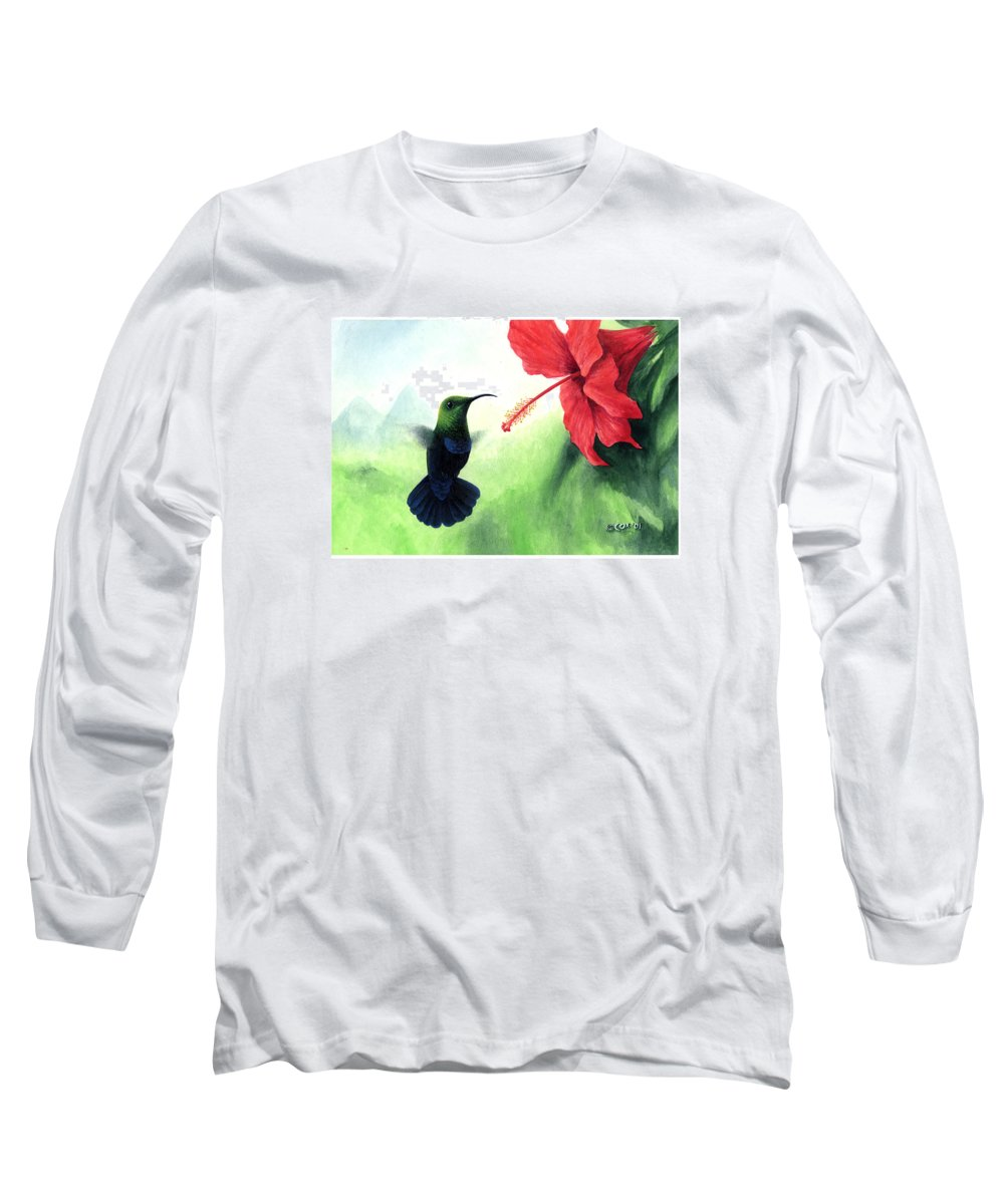 Chris Cox Long Sleeve T-Shirt featuring the painting Green-throated Carib Hummingbird And Red Hibiscus by Christopher Cox