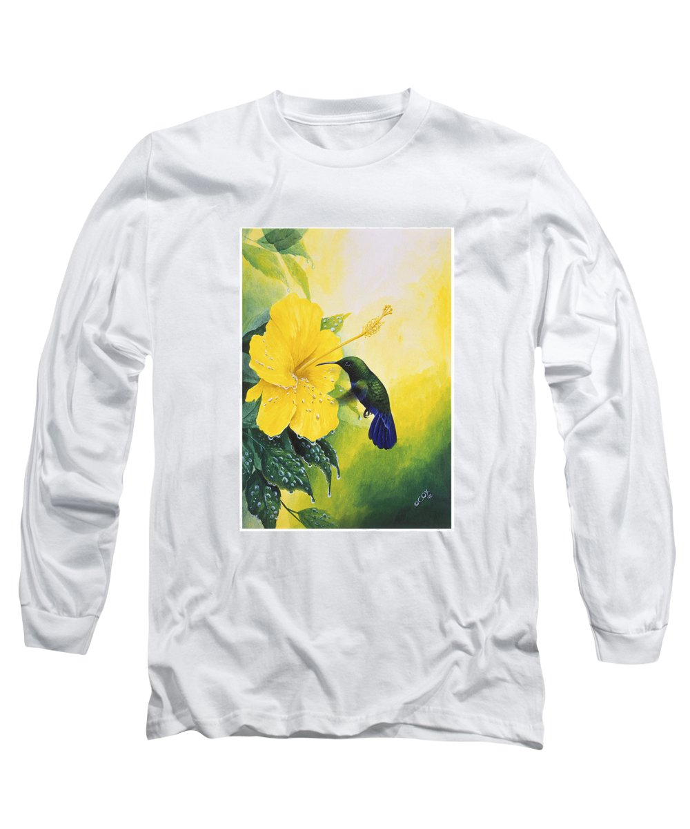Chris Cox Long Sleeve T-Shirt featuring the painting Green-throated Carib Hummingbird And Yellow Hibiscus by Christopher Cox