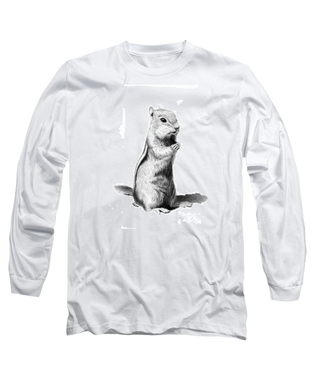 Ground Squirrel Long Sleeve T-Shirt featuring the drawing Ground Squirrel by Lynn Quinn