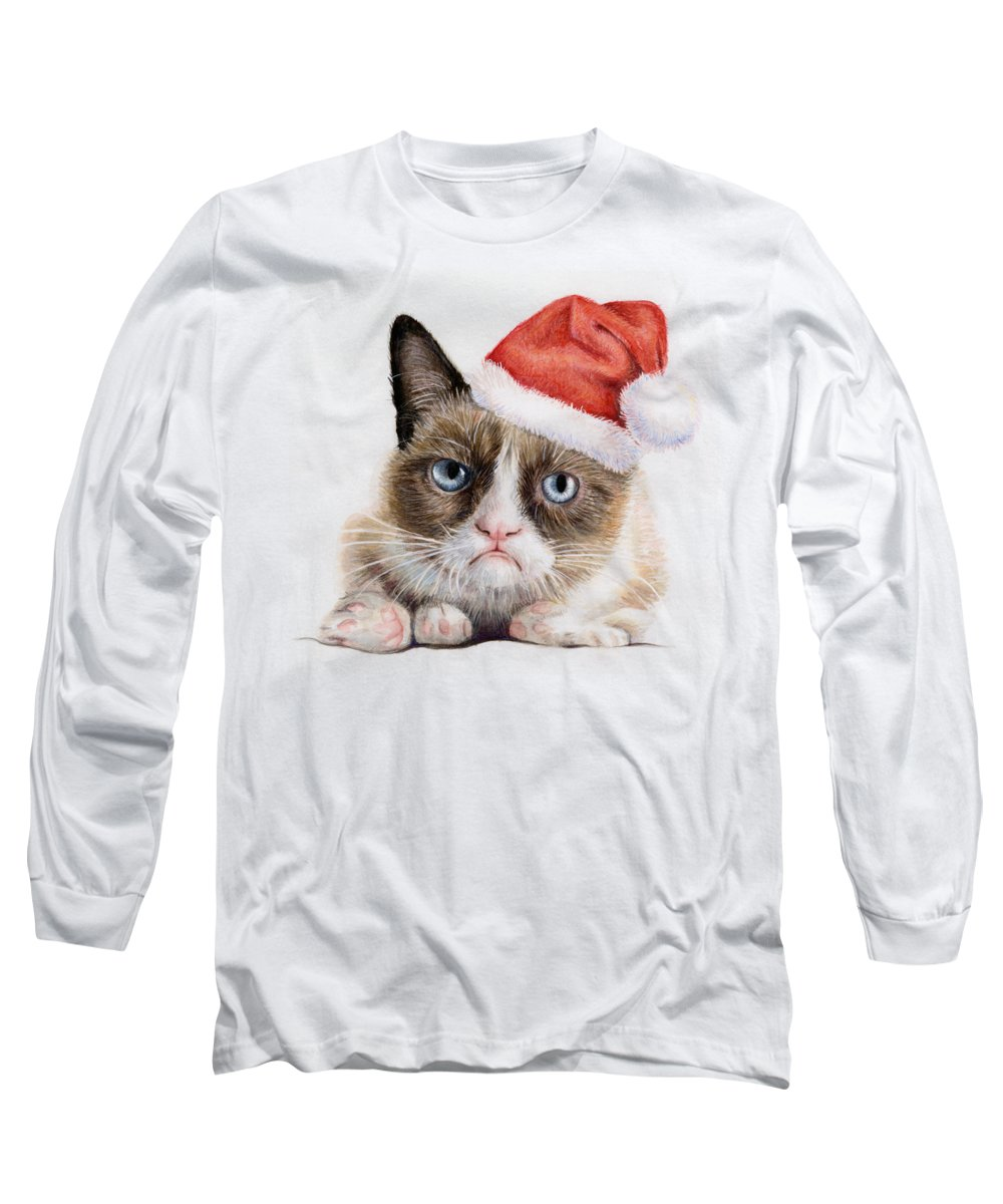 Grumpy Long Sleeve T-Shirt featuring the painting Grumpy Cat As Santa by Olga Shvartsur