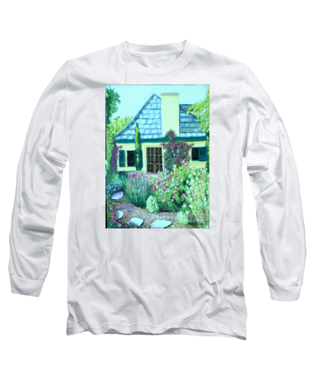 Cottage Long Sleeve T-Shirt featuring the painting Guest Cottage by Laurie Morgan
