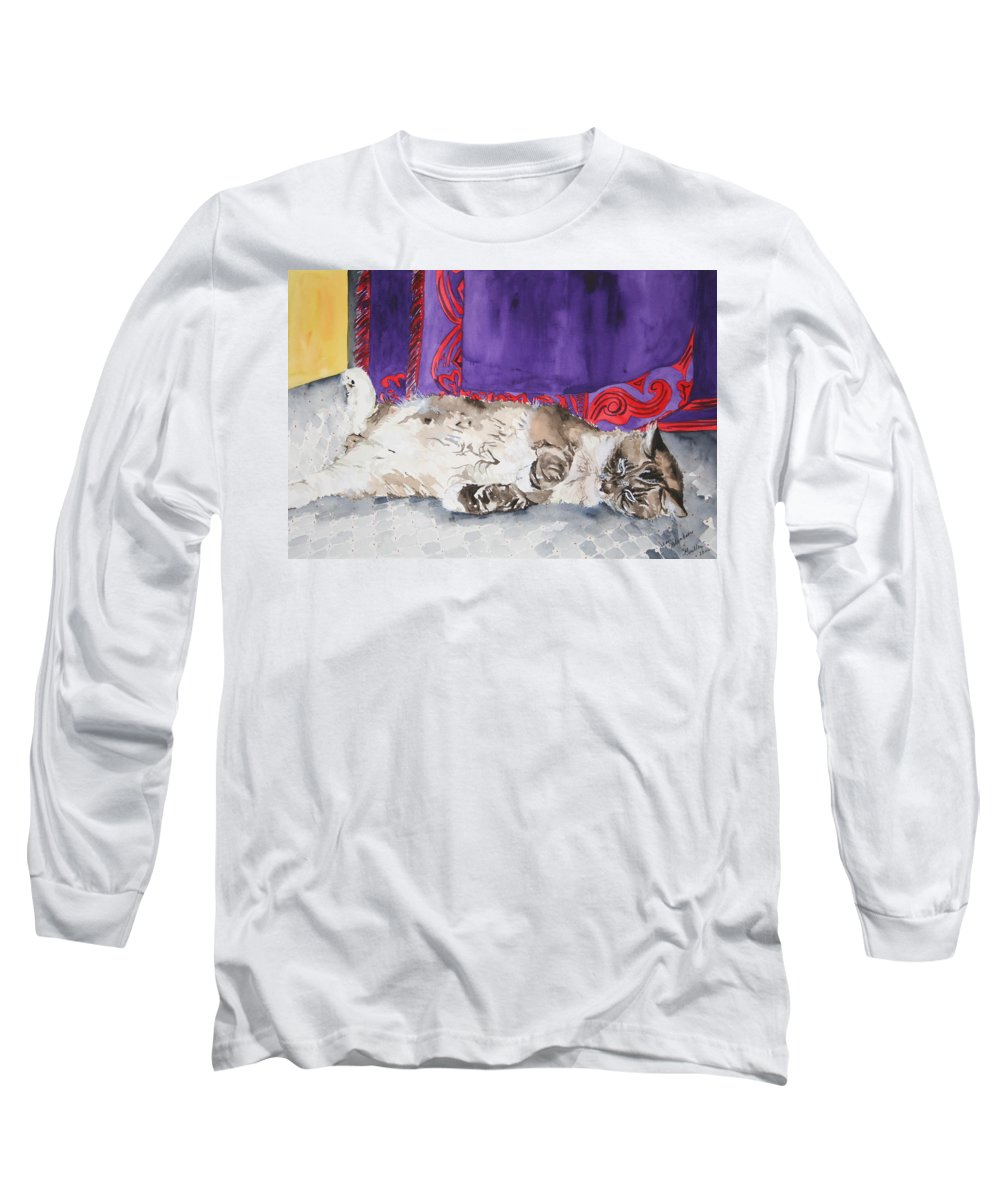 Cat Long Sleeve T-Shirt featuring the painting Guilley by Jean Blackmer