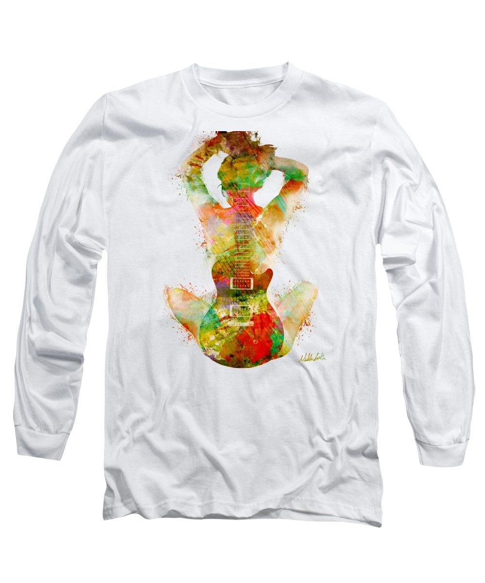 Guitar Long Sleeve T-Shirt featuring the digital art Guitar Siren by Nikki Smith