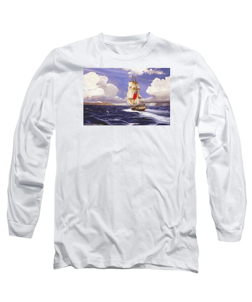 Marine Long Sleeve T-Shirt featuring the painting H. M. S. Bounty At Tahiti by Marc Stewart