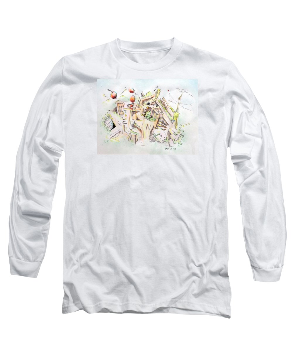 City Long Sleeve T-Shirt featuring the painting Habitat by Dave Martsolf