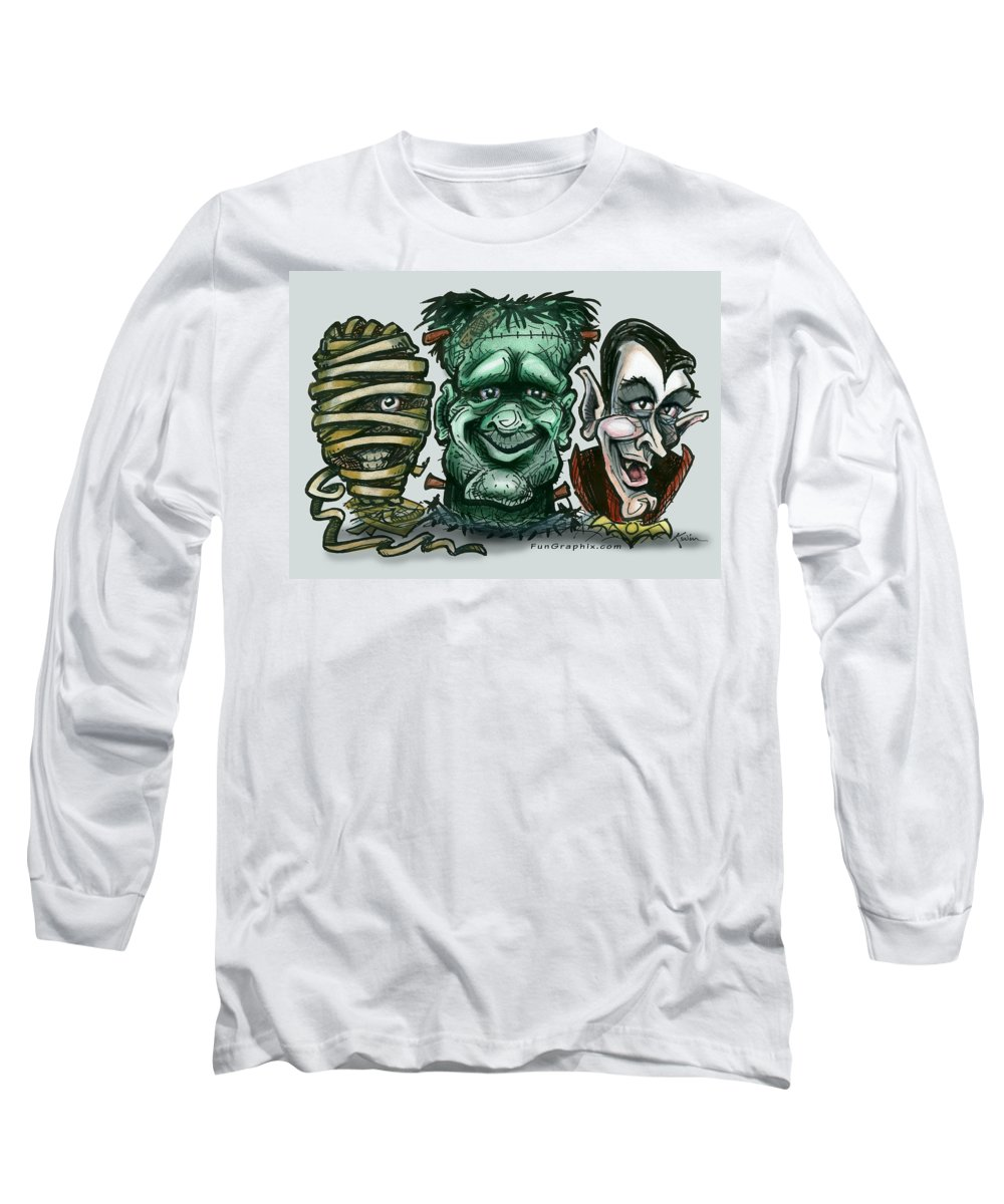 Halloween Long Sleeve T-Shirt featuring the greeting card Halloween Monsters by Kevin Middleton