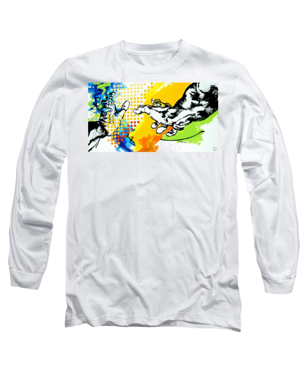 Classic Long Sleeve T-Shirt featuring the painting Hands by Jean Pierre Rousselet