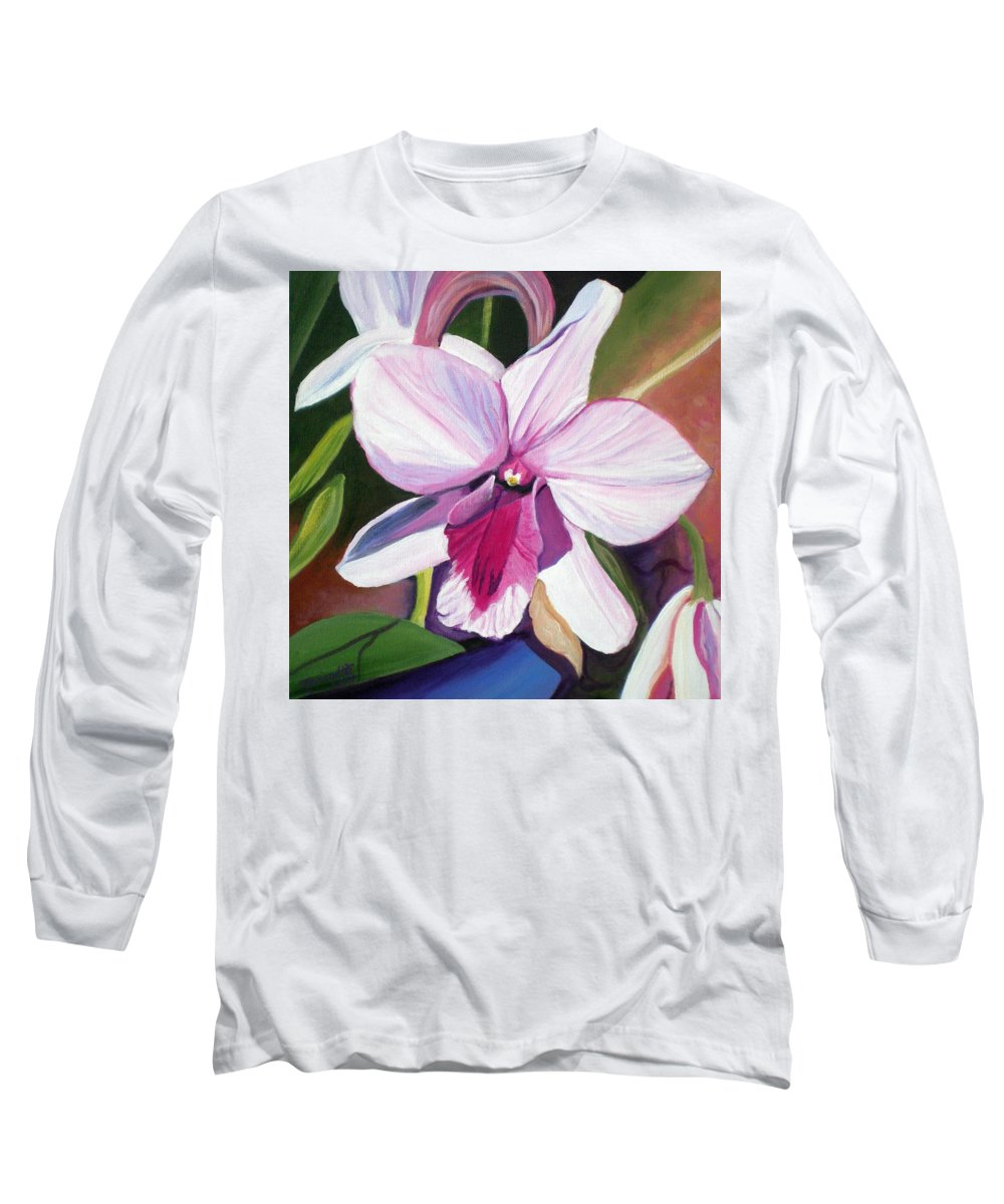 Kauai Long Sleeve T-Shirt featuring the painting Happy Orchid by Marionette Taboniar